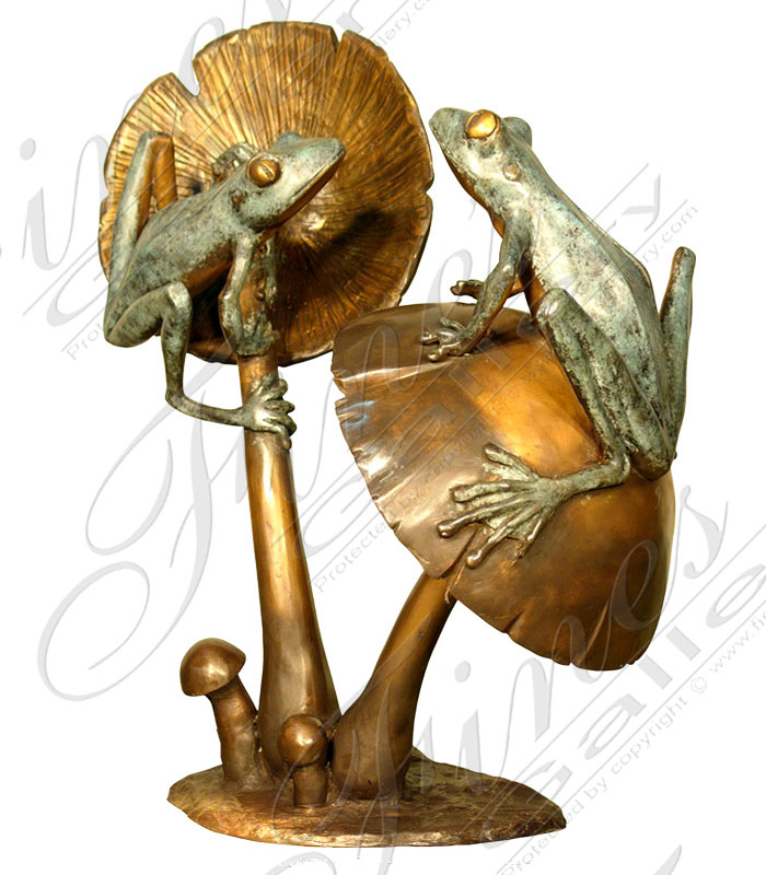 Bronze Fountains  - Natural Frogs Bronze Fountain - BF-603