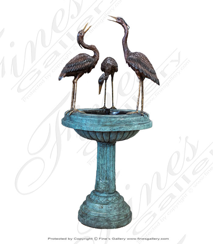 Bronze Fountains  - Bronze Heron Fountain - BF-702