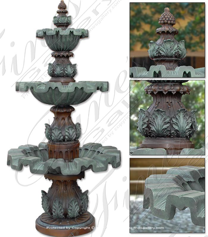 Bronze Fountains  - Acanthus Leaf Bronze Fountain - BF-641