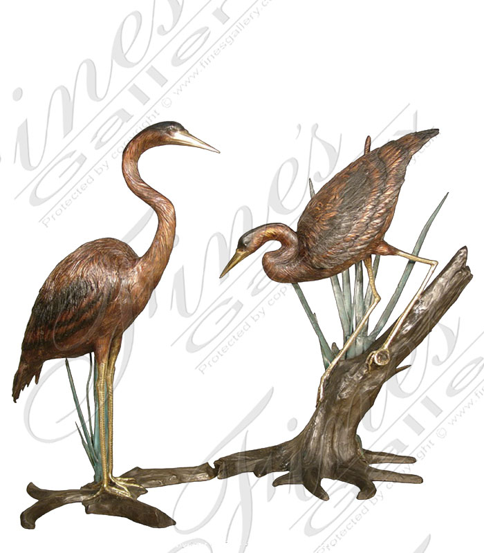 Bronze Fountains  - Patina Bronze Crane Pair - BF-105