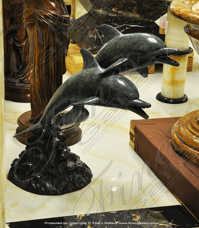 Bronze Fountains  - Bronze Dolphin Pair Fountain - BF-672