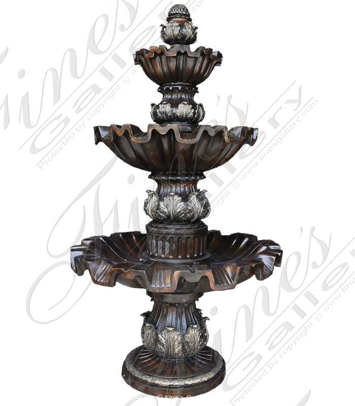 Bronze Fountains  - Three Tiered Bronze Acanthus Leaf Theme Fountain - BF-675