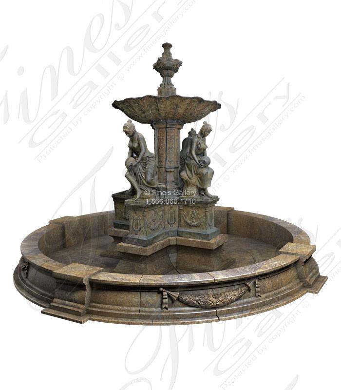 Bronze Fountains  - Monumental Bronze Fountain And Granite Pool Surround - BF-677