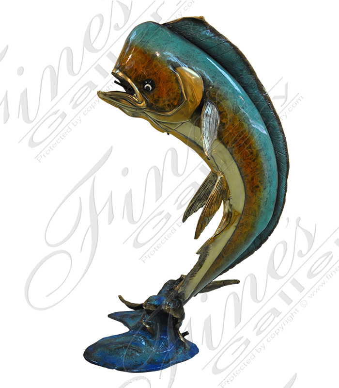Bronze Fountains  - Bronze Mahi Mahi Enamel Finish - BF-696
