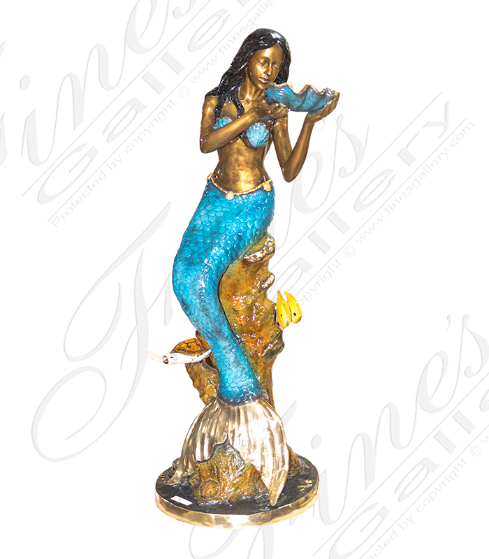 Bronze Fountains  - Bronze Mermaid Holding A Shell Fountain - BF-715