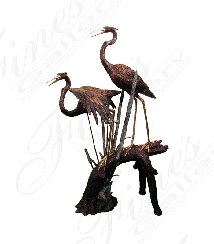 Two Cranes Bronze Fountain
