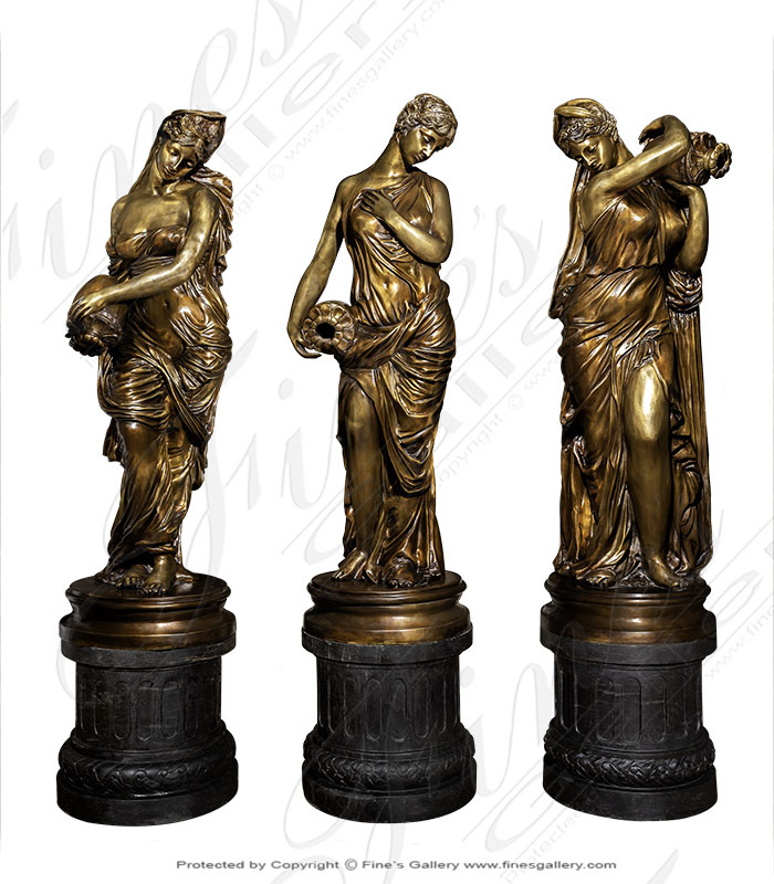 Bronze Fountains  - Bronze Maiden Pouring Water Fountain - BF-170