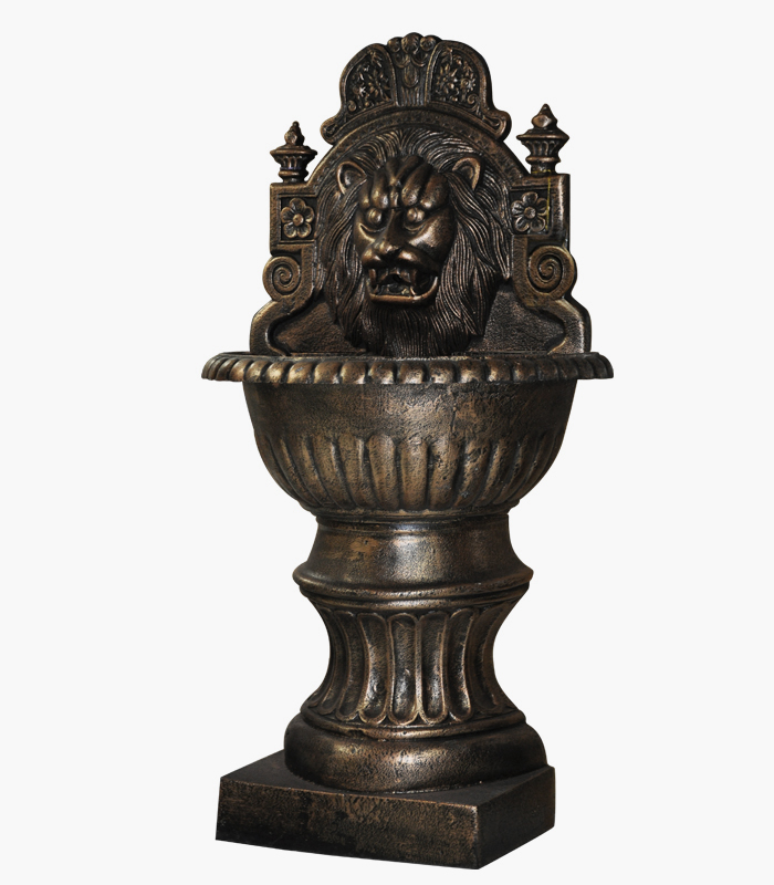 Bronze Fountains  - Cast Iron Lion Wall Fountain - BF-737