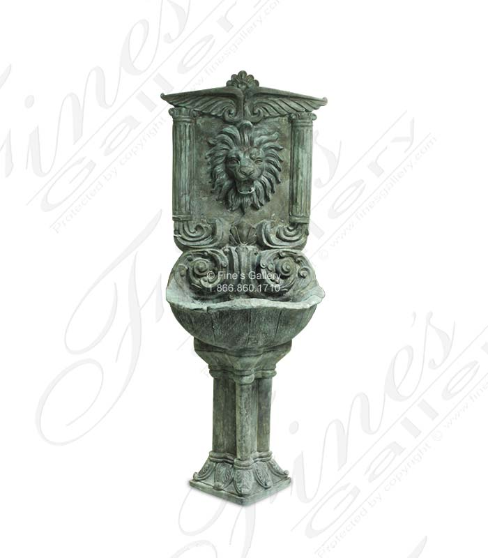 Bronze Fountains  - Majestic Lion Bronze Wall Fountain - BF-784