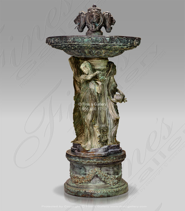 Bronze Fountains  - Antique Patina Bronze Ladies And Lions - BF-791