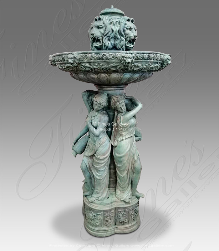 Bronze Fountains  - Antique Patina Finish Bronze Ladies And Lions Fountain - BF-844