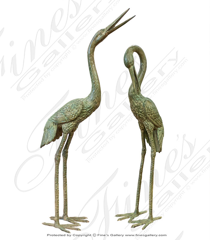 Bronze Fountains  - Two Birds Bronze Fountain In Green Patina Finish - BF-855