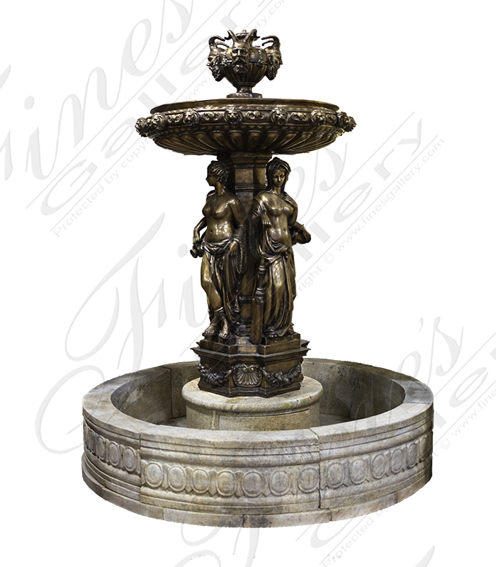 Bronze Fountains  - Women & Faun Heads Bronze Fountain - BF-856