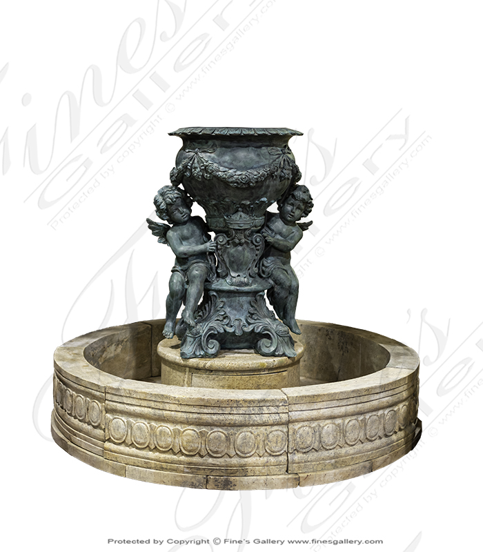 Bronze Fountains  - Royal Angels Antique Finish Bronze Fountain - BF-858