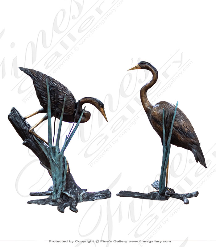 Bronze Fountains  - Heron Pair In Reeds Bronze Fountain - BF-859