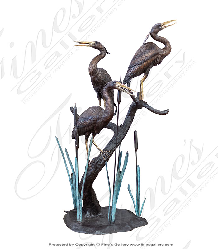 Bronze Fountains  - Three Herons On Tree Bronze Fountain - BF-860