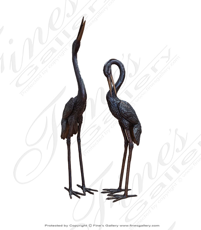 Bronze Fountains  - Bronze Crane Fountain PAIR - BF-861
