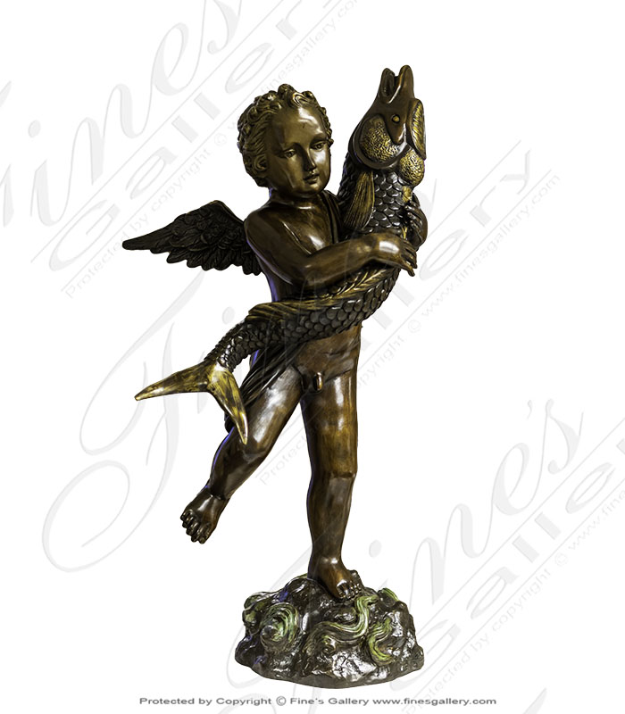 Bronze Fountains  - Bronze Cherub With Fish Fountain - BF-868