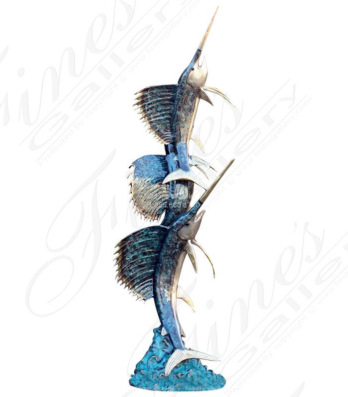 Bronze Fountains  - A Trio Of Sailfish In Bronze - BF-880