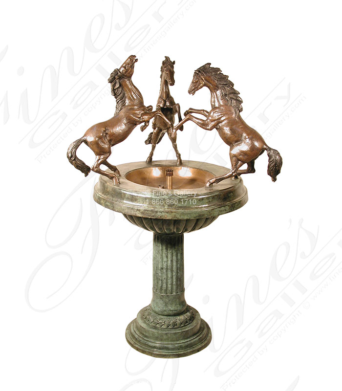 Rearing Bronze Horses Fountain
