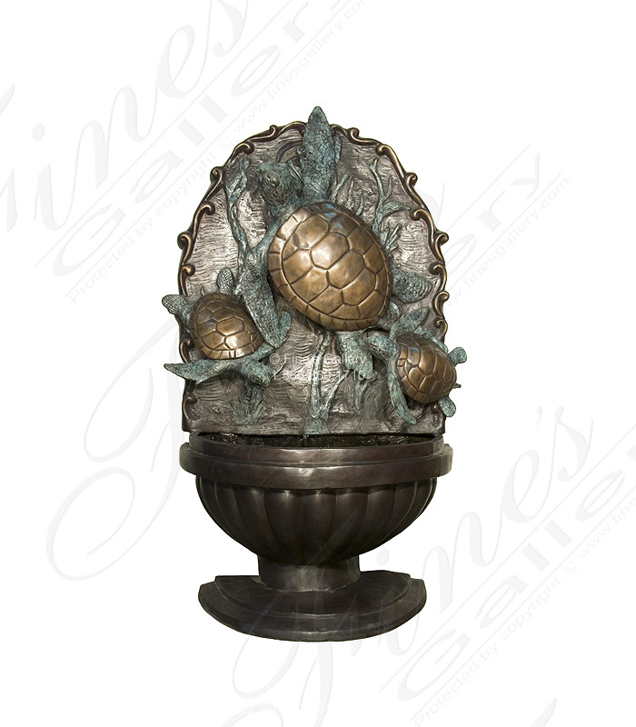 Bronze Fountains  - 6 Ft Sea Turtles Wall Fountain - BF-885