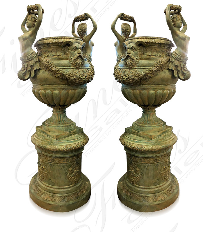 Bronze Planters  - Antique Patina Finish Bronze Planter ( PAIR ) - BP-1199