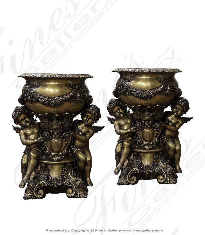 Bronze Planters  - Majestic Bronze Cherubs Planter Pair - BP-1201