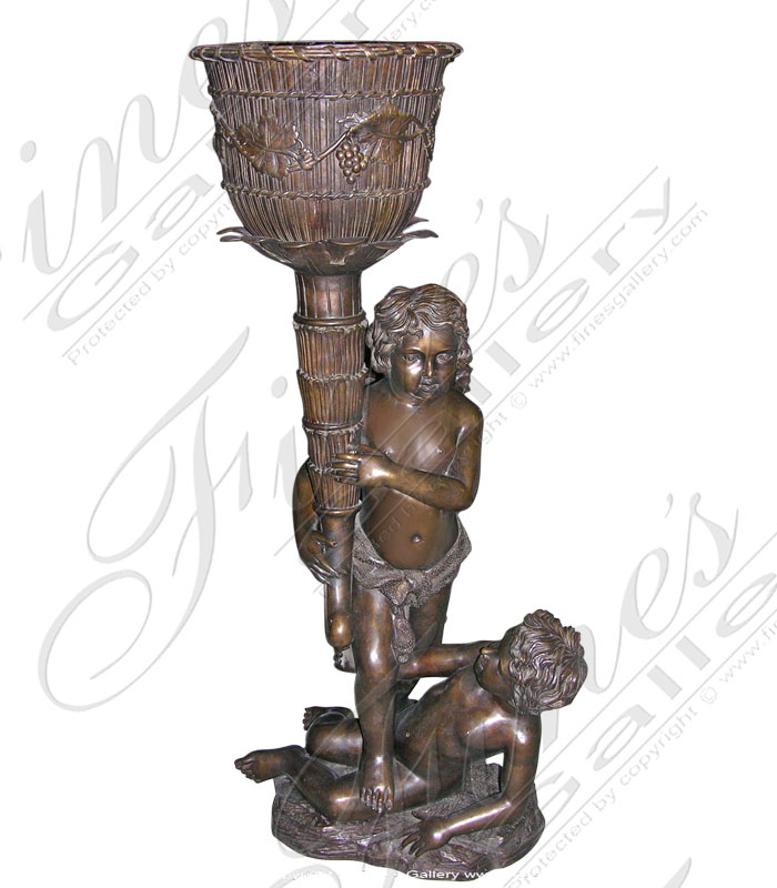 Bronze Planters  - Twin Boys Bronze Planter - BP-143