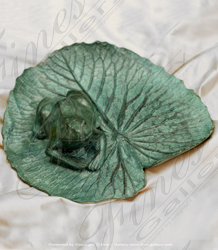 Bronze Statues  - Frog On Lily Pad Bronze Statue - BS-1030