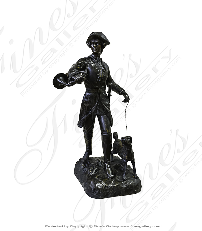 Bronze Statues  - Colonial Man Fox Hunt In Bronze - BS-1046