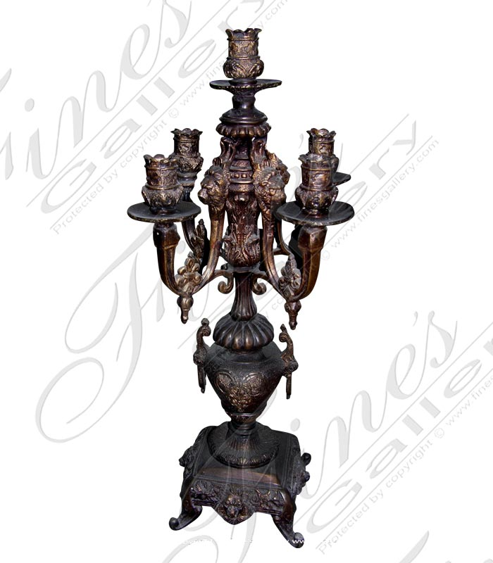Bronze Lion Head Candelabra