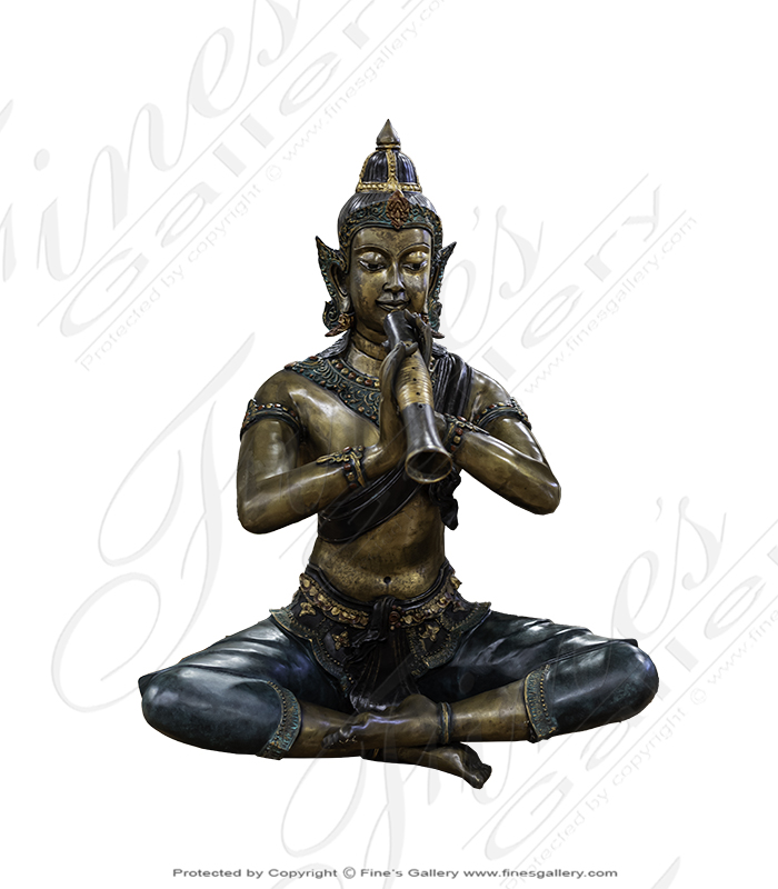 Bronze Statues  - Krishna Playing The Venu Bronze Statue - BS-113