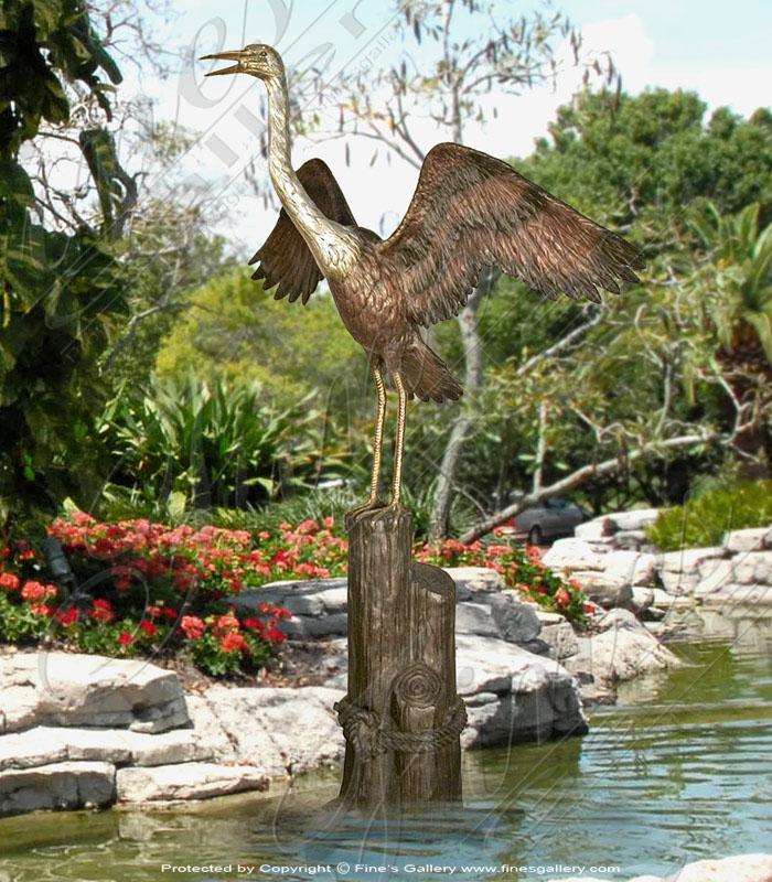 1Bronze Statues  - Graceful Water Bird In Bronze - BS-1242