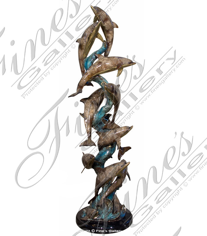 Bronze Statues  - Social School Of Dolphins - BS-1320