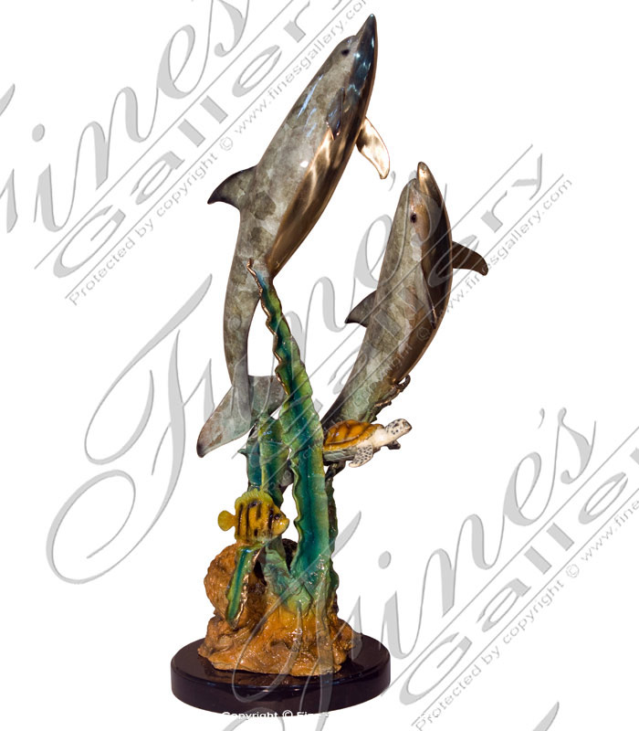Bronze Statues  - Two Dolphin Bronze Statue - BS-1321