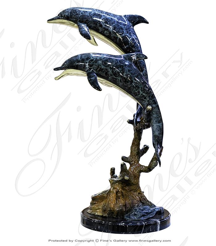 Twin Dolphin Bronze Statue
