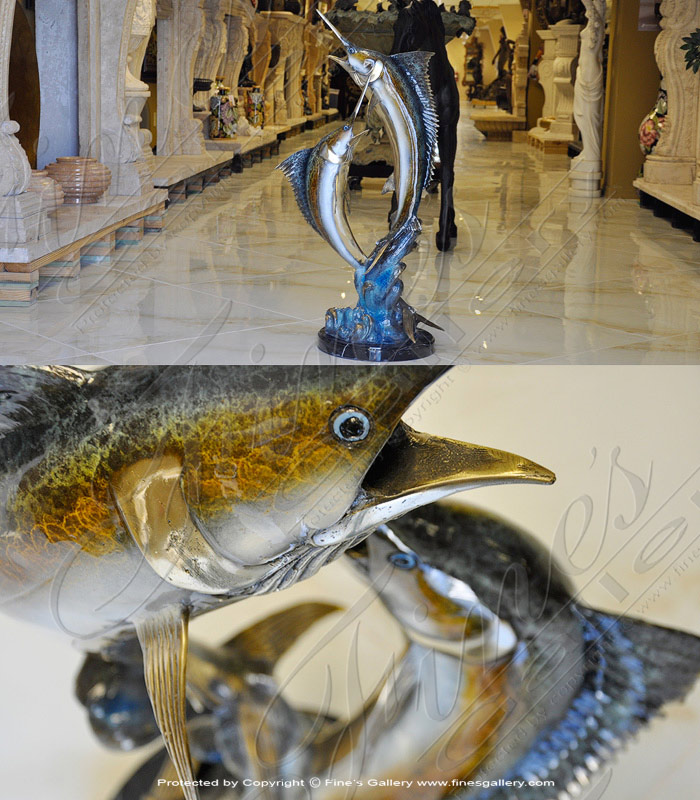 Bronze Statues  - Two Sailfish Bronze Statue - BS-1324