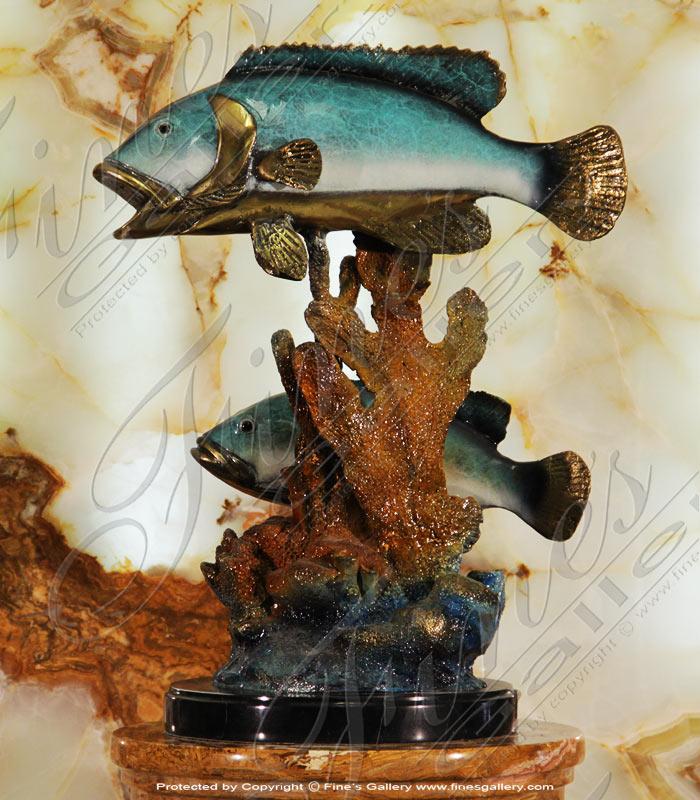 Two Grouper Bronze Statue