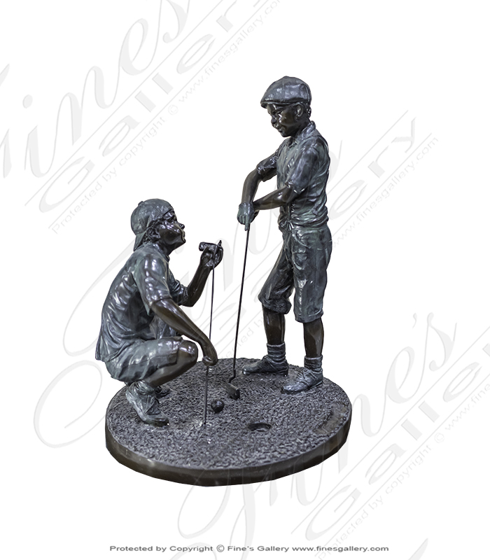 Two Children Golfers Bronze Statue