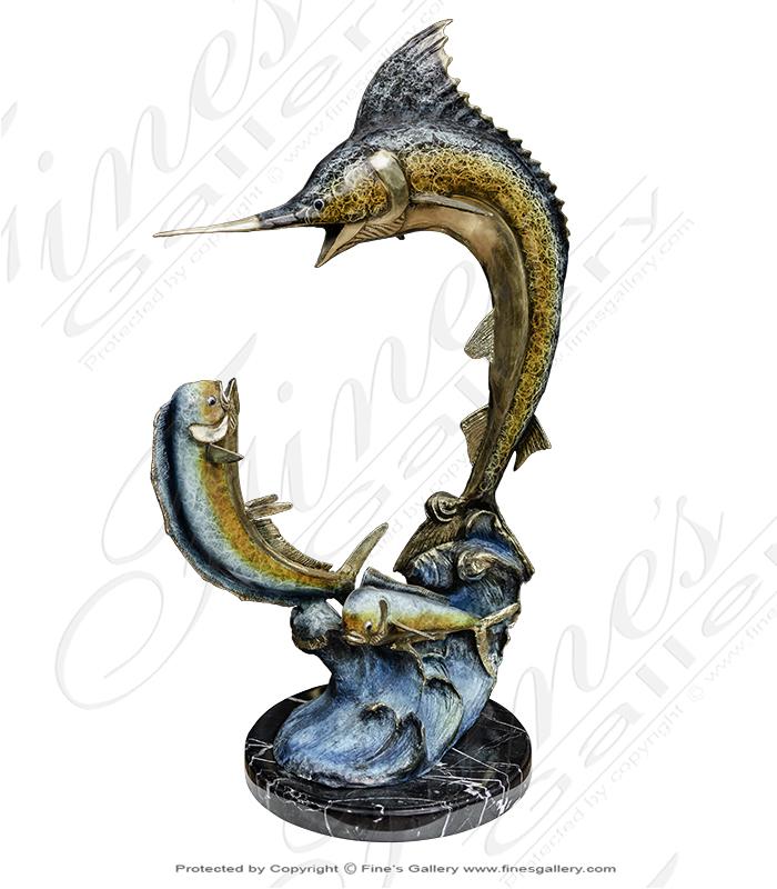 Bronze Statues  - Sailfish And Mahi Mahi Bronze Statue - BS-1332
