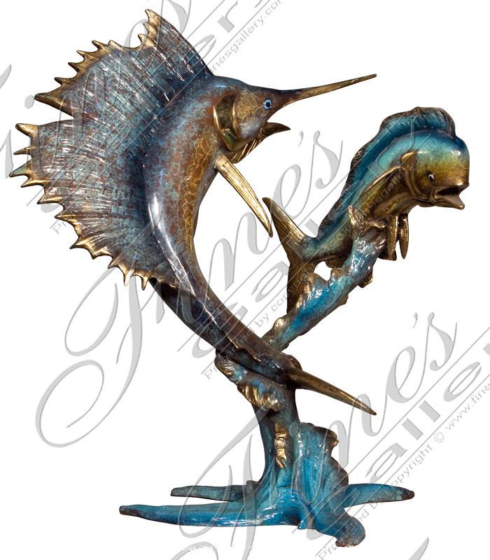 Bronze Statues  - Sailfish & Mahi Mahi Bronze Statue - BS-1333