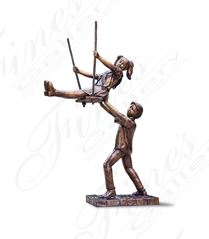 Children Swinging Bronze Statue