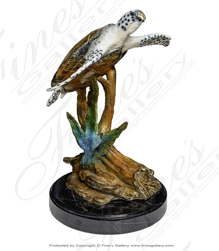 Bronze Statues  - Colorful Bronze Sea Turtle - BS-1404