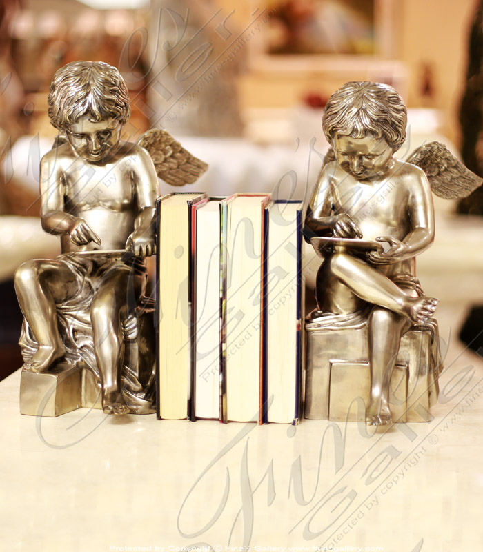 Bronze Statue Cherub Bookends