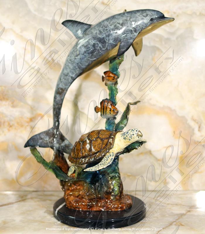 Bronze Statue Dolphin Turtle
