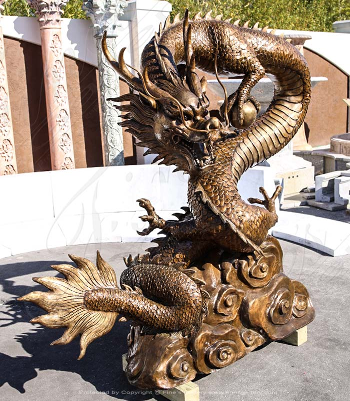 Bronze Statues  - Large Bronze Chinese Dragon - BS-1433