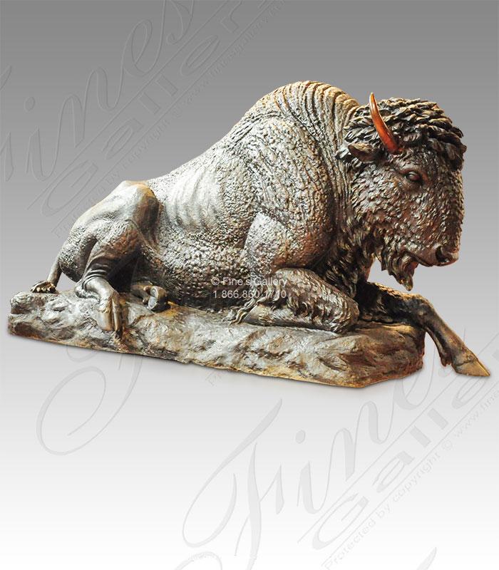 Resting Bronze Bison Statue