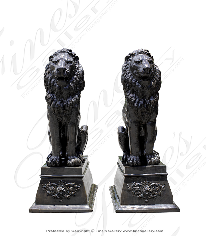 Extra Large Bronze Lion Pair