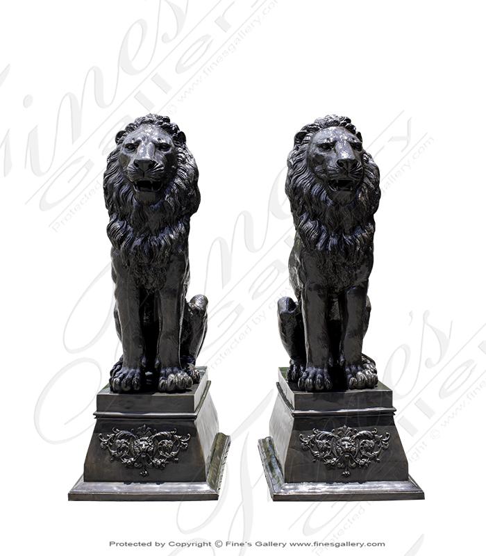 Bronze Statues  - Extra Large Bronze Lion Pair - BS-1515