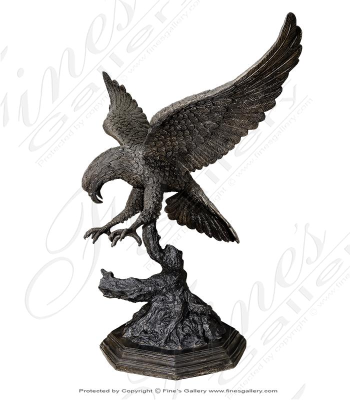Bronze Statues  - Bronze Eagle Landing Statue - BS-1521